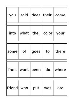Saxon Phonics Sight Words 1st Grade checklist