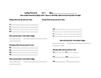 Saxon Phonics Spelling Homework List 1