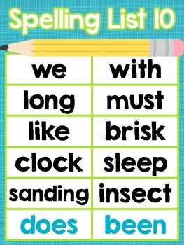 Saxon Phonics Spelling Word Posters {First Grade} {25 Lists Organized by Week}