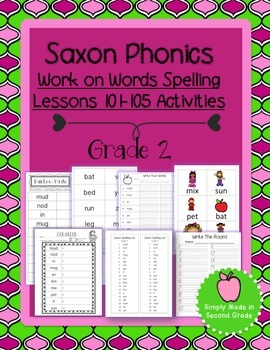 Saxon Phonics Weekly Spelling  Activity Pack Lessons 101-105