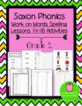Saxon Phonics Weekly Spelling  Activity Pack Lessons 111-115