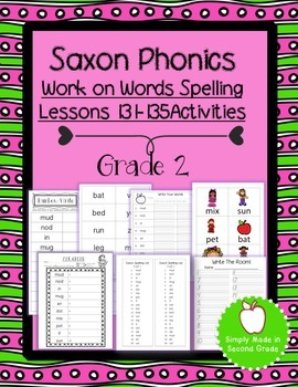 Saxon Phonics Weekly Spelling  Activity Pack Lessons 131-135