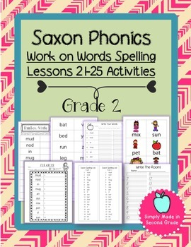 Saxon Phonics Weekly Spelling  Activity Pack Lessons 21-25