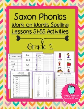 Saxon Phonics Weekly Spelling  Activity Pack Lessons 51-55