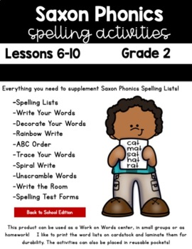 Saxon Phonics Weekly Spelling  Activity Pack Lessons 6-10  Second Grade