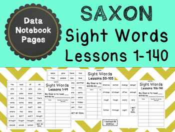 Saxon Sight Word Data Notebook Pages