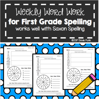 First Grade Weekly Word Work Practice Pages - Works great with Saxon Spelling 1