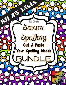 Saxon Spelling Cut and Paste Bundle Lists 1-25