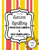Saxon Spelling Practice Sheets and Test Templates Lists 11-15