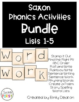 Saxon Word Work Bundle List 1-5