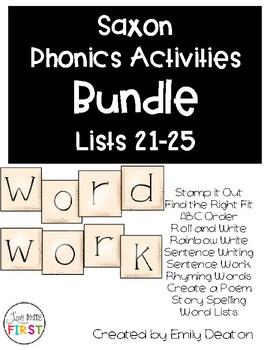 Saxon Word Work Bundle List 21-25