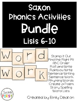 Saxon Word Work Bundle List 6-10