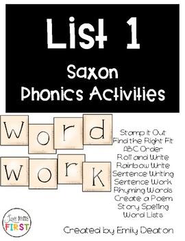 Saxon Word Work List 1