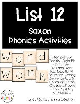 Saxon Word Work List 12