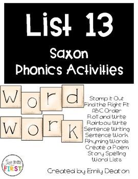 Saxon Word Work List 13