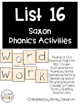 Saxon Word Work List 16