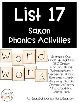 Saxon Word Work List 17