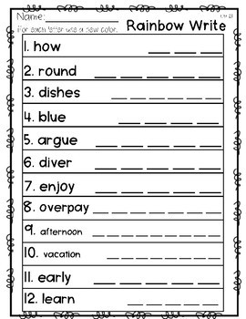 Saxon Word Work List 21