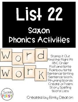 Saxon Word Work List 22