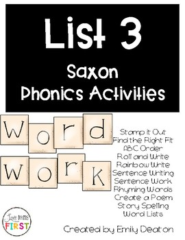 Saxon Word Work List 3