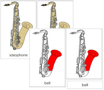 Saxophone Nomenclature Cards (Red)