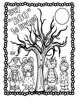 "Say ""Boo"" to Drugs! Color Sheet by Karen PEDERSON 