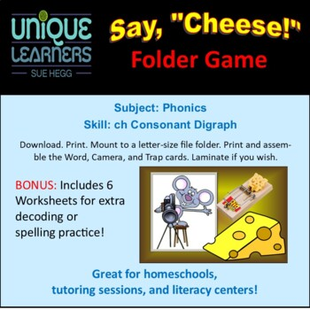 Say Cheese Folder Game Consonant Digraph ch