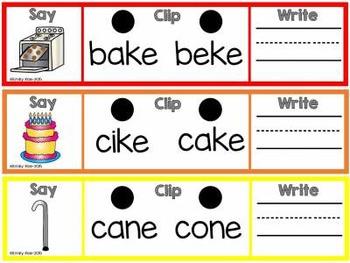 Say, Clip, Write! CVCE Practice Cards