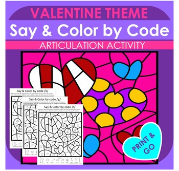 Say & Color by Code for Speech Therapy Valentine Design