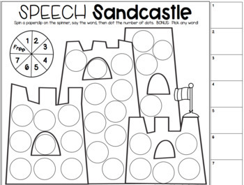 Say & Dot Articulation Sandcastles for Speech Therapy