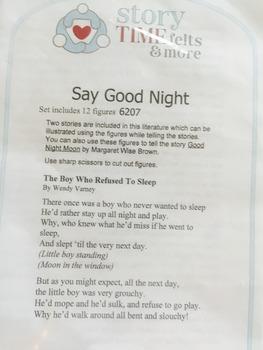 Say Goodnight Moon Flannel Board Felt Story Set -Pre-Cut