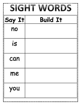 Say It-Build It Sight Words