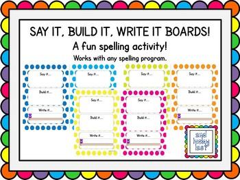 Say It, Build It, Write It Boards - Spots