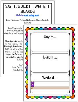 Say It, Build It, Write It Boards – Scalloped Borders