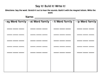 Say It! Build It! Write it! Word Family Phonemic Awareness Activity