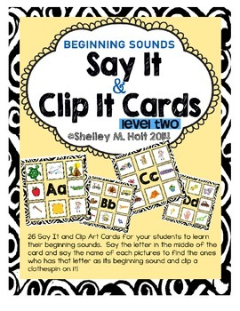 Say It & Clip It: Level Two - Beginning Sounds Activity / Game