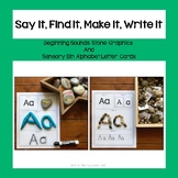 Say It, Find It, Make It, Write It with Letter Cards and Beginning Sound Stones