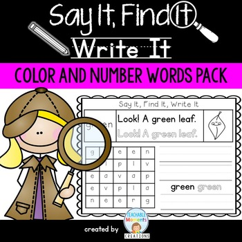 Say It, Find It, Write It - Color and Number Words Pack