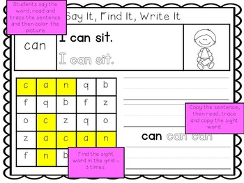 Say It, Find It, Write It - Sight Word Pack #2