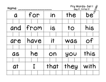 Say It, Initial It Sight Word, Letter, Number, Shape Review