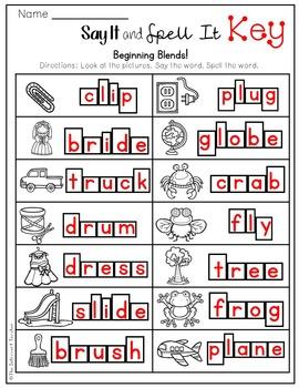 Say It & Spell It! Featuring Beginning Consonant Blends