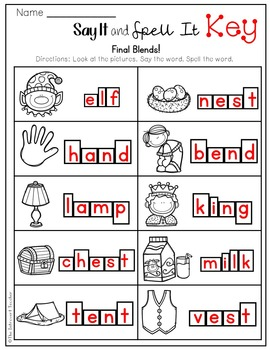 Say It & Spell It! Featuring Final Consonant Blends