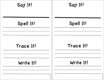 Say It, Spell It, Trace It, Write It! Name Writing Template