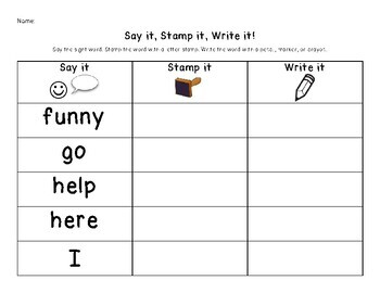 Say It, Stamp It, Write It: DOLCH PrePrimer Sight Words