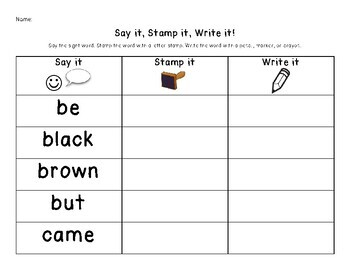 Say It, Stamp It, Write It: DOLCH Primer Sight Words