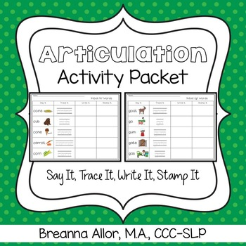 Say It, Trace It, Write It, Stamp It Articulation Activity Packet