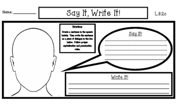 Say It, Write It! Dialogue Activity
