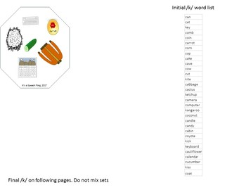 Articulation: Say It! /k/ Initial and Final