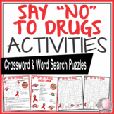 Red Ribbon Week Activities Say No To Drugs Crossword Puzzle and Word Search Find
