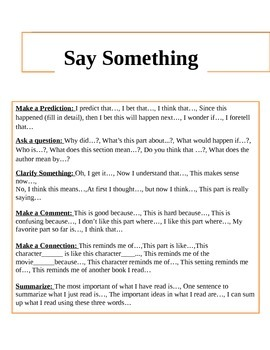 Say Something During Reading Chart